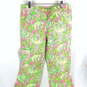 Lily Pulitzer Cropped Cotton Pink/Green Pants